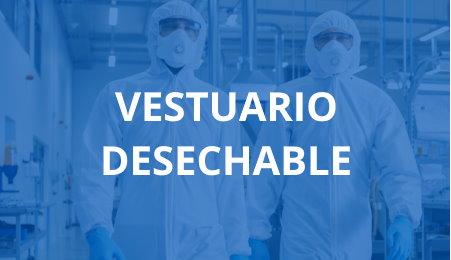 Pareja de operarios en planta industrial con epi desechable gafas y mascarillas